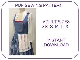 Belle Blue Dress Pattern Beauteous Belle Blue Village Dress ADULT SIZES PDF Sewing Pattern Etsy