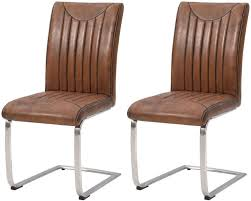 faux leather vintage retro stitch dining chair pair