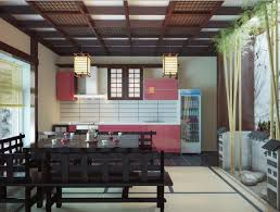 Luxurious Classic Japanese Kitchen Dining Space with Bamboo Decor