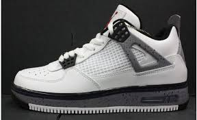 jordan air force 1. nike air jordan 4 iv force one fusion white/grey/red 1