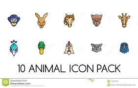 Animal Icon Animal Face Icons Logos Pack Stock Vector Illustration Of