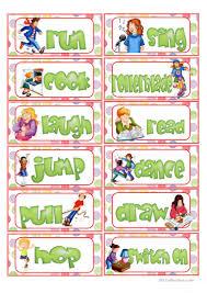 Verb Action Action Verb Flashcards English Esl Worksheets