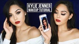 kylie jenner inspired fall makeup tutorial 2016 bronze smoky eye red lip you