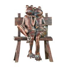 frog couple copper finish garden statue decoration sculpture 1 of 2 see more