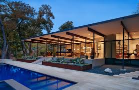 copper planters patio modern with beautiful pools custom made fleetwood sliding doors glass