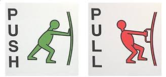 Asmi Collections Self Adhesive Push And Pull Sign Stickers