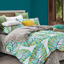 turquoise yellow black and white leaf pattern tropical print rustic style egyptian cotton sateen full queen size bedding sets