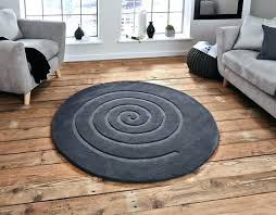 circle shaped area rugs grey rug round think spiral dark gy