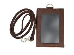 logical leather id lanyard with detachable vertical badge holder genuine leather lanyards for women