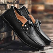 genuine leather mens driving footwear black brown soft rubber sole non slip moccasins loafers dress