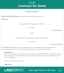 Contract Paper Sample Land Contract Forms Free Contract For Deed Form US LawDepot 18