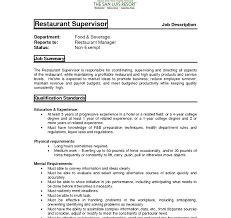 Restaurant Supervisor Job Description Resume Cover Letteror Supervisor Position No Experience Customer Services 50