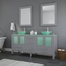 63 in gray vanity with glass countertop vessel sink chrome faucet and drain