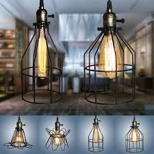 1pcs iron wire cage lampshade chandelier bird retro black bar drop gorgeous lamp diy pendant shade