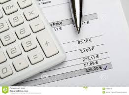 Invoice Price Calculator Pen With Calculator And Invoice Stock Image Image Of