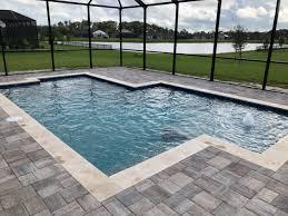 geometric pool design in winter garden