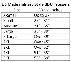 Qualified Military Bdu Sizing Chart Bdu Army Combat Mens
