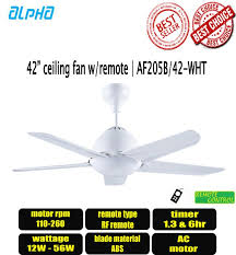 alpha 42 ceiling fan with remote control