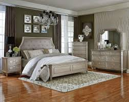 Sparkling Wooden Laminate Floor With Geometric Printed Rug For Luxury  Bedroom Decor With Vintage Silver Furniture Set