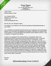 housekeeping cover letter example housekeeper resumes