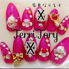 メルカリ ショキピンクに可愛い系のオリジナルネイルデザイン ネイル