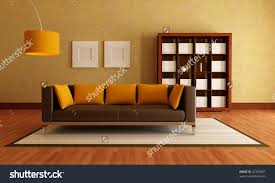 Orange And Brown Living Room Brown Modern Couch Wood Bookcase Living Stock Illustration
