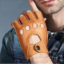 leather gloves mens natural deer skin half finger gloves winter warm thin fashion fitness leather fingerless driving gloves mens gloves