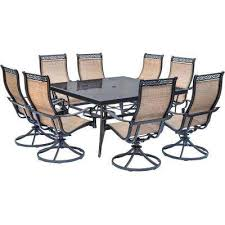 monaco 9 piece aluminum outdoor dining set with square glass top table and contoured