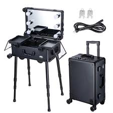 aw rolling makeup case with led light mirror adjule legs lockable train table studio cosmetic