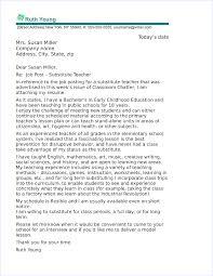 Cover Letter Substitute Teacher Substitute Teacher Cover Letter Sample