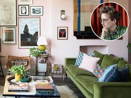living room in 2020 green sofa living