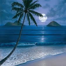 tropical beach paintings night thomas