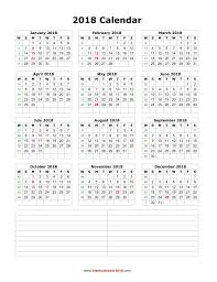 calendars with notes blank calendar 2018