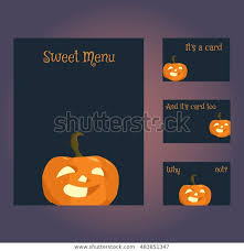 Halloween Business Cards Set Blank Templates Business Cards Letterhead Stock Image