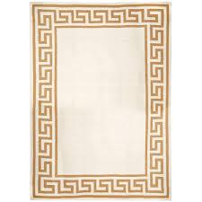 camel greek key border reversible peruvian flat weave rug alt image 1