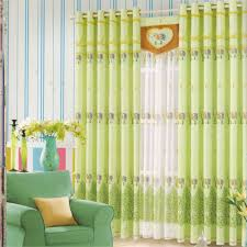 Light Green Cotton Fabric Beautiful Bedroom Curtains
