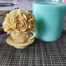2019 HC0120 <b>PRZY</b> Flower Rose Cup <b>Silicone</b> Mold <b>Soap</b> Mould ...