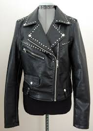 details about nwt vigoss women s black studded faux leather moto jacket size l