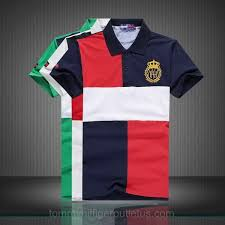3 pcs mens stand collar tommy hilfiger block style short sleeved polo shirt