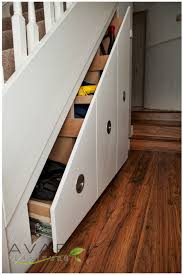 Spectacular White Varnished Small Drawers As Storage Under Stairs With  Stainless Steel Handle Drawer For Hidden Drawers Ideas And Space Saving  Furniture ...