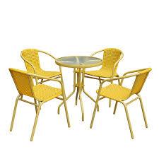 Image Fun Magari Furniture Askc5 5piece Outdoor Furniture Patio Resin Wicker Rattan Garden Iron Frame Dining Set With Four Chairs Yellow Walmartcom Walmart Magari Furniture Askc5 5piece Outdoor Furniture Patio Resin Wicker
