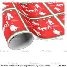western rodeo cowboy cow roping wrapping paper