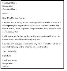 resignation letter format with reason describing the reason of resignation as reason for higher studies format for resignation letter
