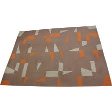 brown and orange vintage geometric rug 1970s