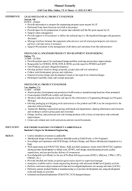 Download Mechanical Product Engineer Resume Sample as Image file
