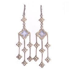 david yurman sterling silver diamond chalcedony quatrefoil chandelier earrings 93695