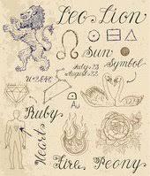 Sada Symbolů Pro Znamení Zvěrokruhu Lev Nebo Lev Vektory Z Knihovny