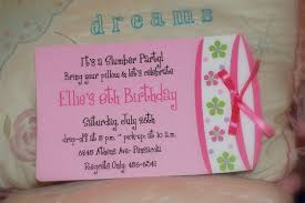 part invites cute pink themed sleepover birthday party invitation card designed