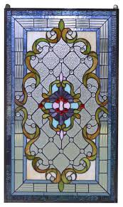handcrafted jeweled stained glass window panel 20 5 w x 34 5 h victorian stained glass panels by three mountain international inc