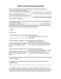 Sublease Contract Template Free California SubLease Agreement Template PDF Word EForms 14